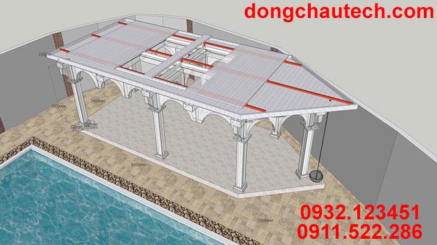 Bản vẽ thiết kế thi công mái che hồ bơi