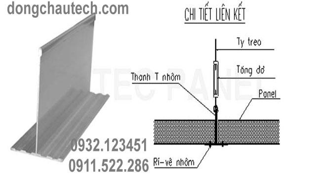 Mô hình liên kết giữa các tấm panel cách nhiệt với thanh T nhôm